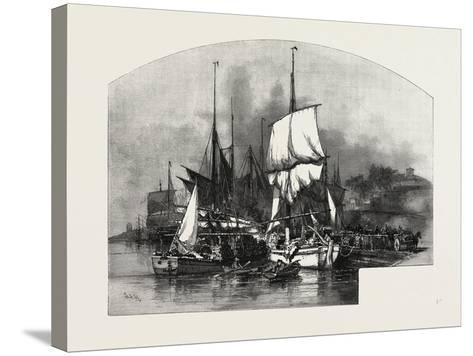 Montreal, Wood Barges, Canada, Nineteenth Century--Stretched Canvas Print
