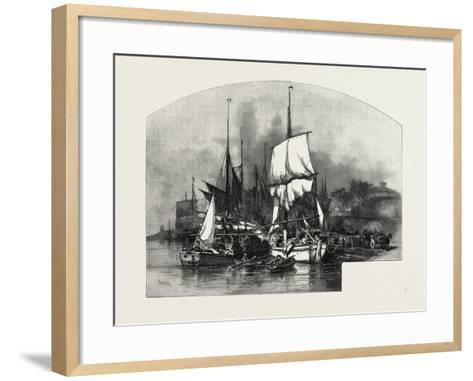 Montreal, Wood Barges, Canada, Nineteenth Century--Framed Art Print