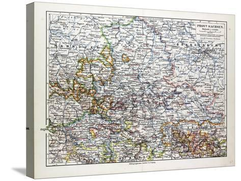 Map of Sachsen-Anhalt Sachsen Saxony Germany 1899--Stretched Canvas Print