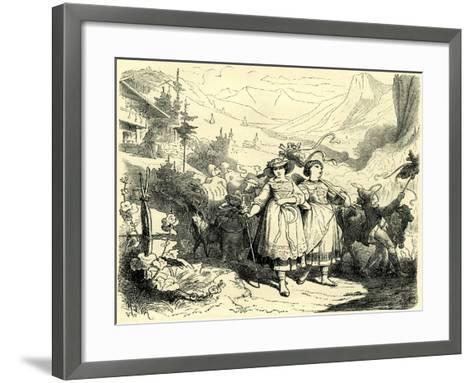 Girls Leading Cattle to the Mountains Switzerland--Framed Art Print