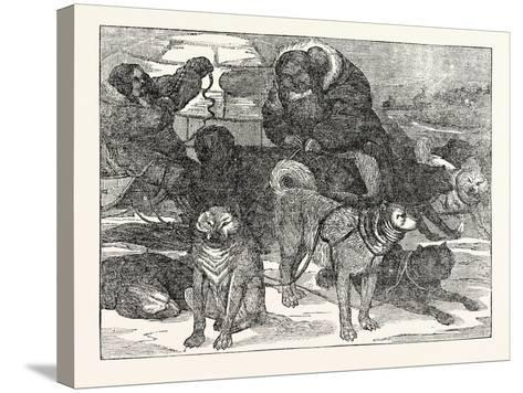 Eskimaux Harnessing their Dogs to a Sledge--Stretched Canvas Print