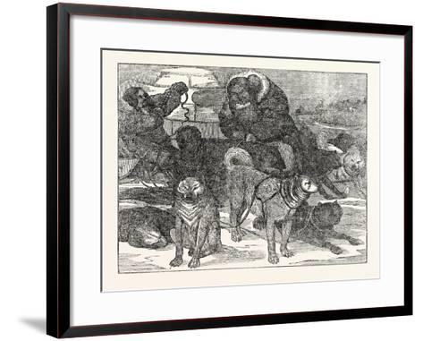 Eskimaux Harnessing their Dogs to a Sledge--Framed Art Print