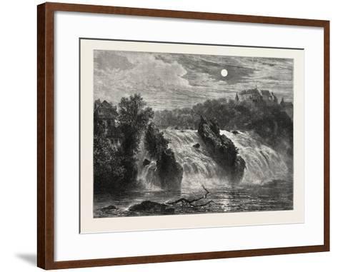 The Falls of the Rhine, 19th Century--Framed Art Print