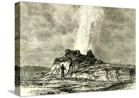 The Castle Geyser in Action 1891 Usa--Stretched Canvas Print