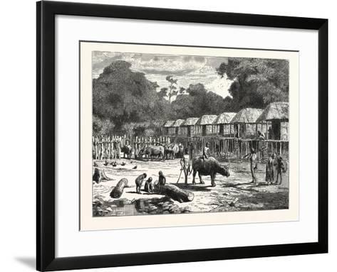 Scene in a Village in the Laos Country--Framed Art Print