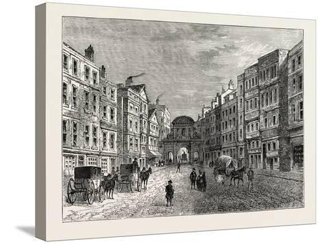 Temple Bar West Front in 1710, London--Stretched Canvas Print