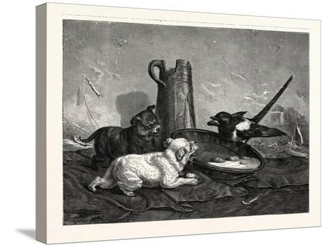 An Unbidden Guest. Dogs and Bird Dinner--Stretched Canvas Print