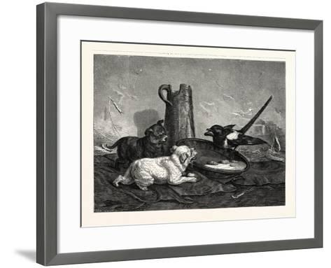 An Unbidden Guest. Dogs and Bird Dinner--Framed Art Print
