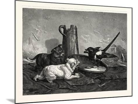 An Unbidden Guest. Dogs and Bird Dinner--Mounted Giclee Print