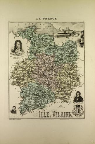 Map of Ille and Vilaine 1896, France--Stretched Canvas Print