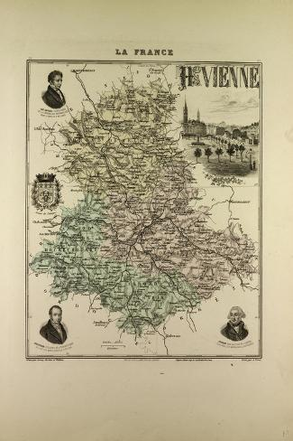 Map of Haute Vienne 1896 France--Stretched Canvas Print