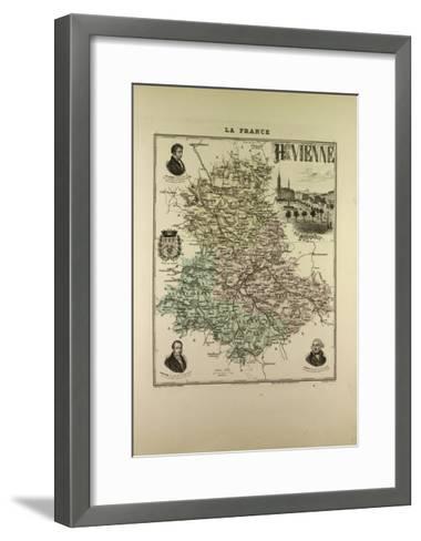 Map of Haute Vienne 1896 France--Framed Art Print