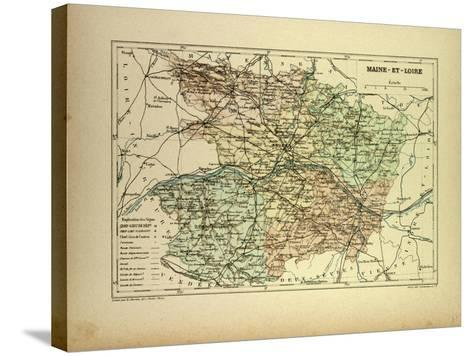 Map of Maine-Et-Loire France--Stretched Canvas Print