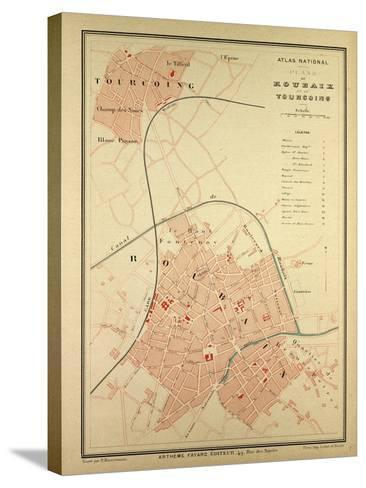 Map of Roubaix and Tourcoing--Stretched Canvas Print