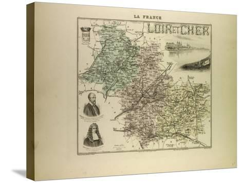 Map of Loir and Cher 1896, France--Stretched Canvas Print