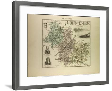 Map of Loir and Cher 1896, France--Framed Art Print