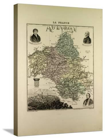 Map of Aveyron 1896, France--Stretched Canvas Print