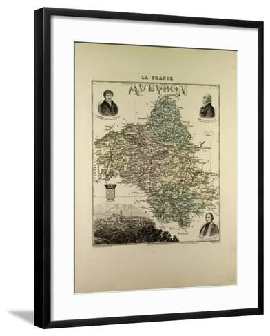 Map of Aveyron 1896, France--Framed Art Print
