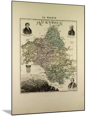 Map of Aveyron 1896, France--Mounted Giclee Print