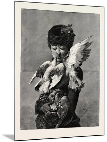 Lady and Pigeons, Fashion, 1882--Mounted Giclee Print