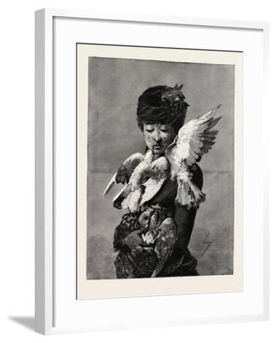 Lady and Pigeons, Fashion, 1882--Framed Art Print