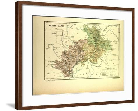 Map of Hautes-Alpes, France--Framed Art Print