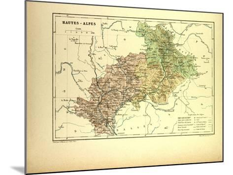 Map of Hautes-Alpes, France--Mounted Giclee Print