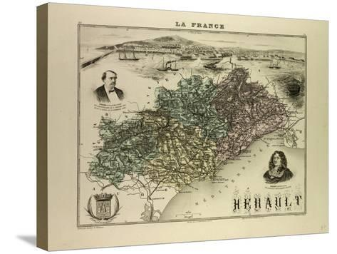 Map of Hérault 1896, France--Stretched Canvas Print