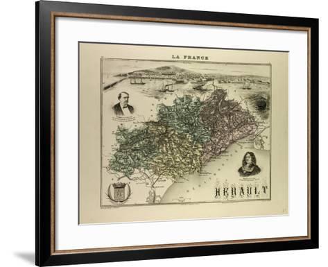 Map of Hérault 1896, France--Framed Art Print