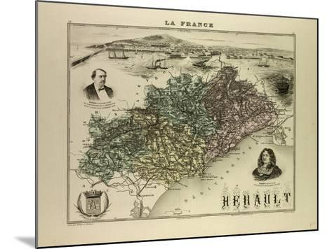 Map of Hérault 1896, France--Mounted Giclee Print