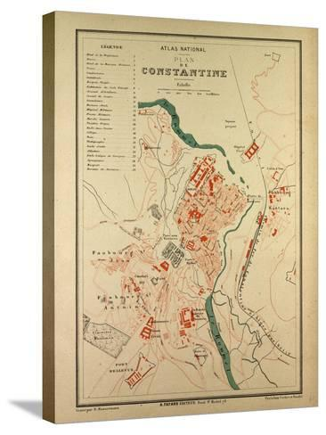 Map of Constantine, France--Stretched Canvas Print