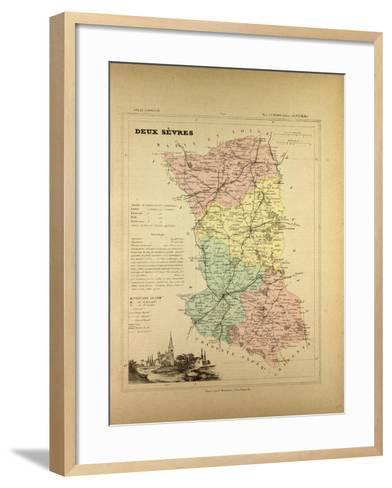 Map of Deux Sèvres, France--Framed Art Print