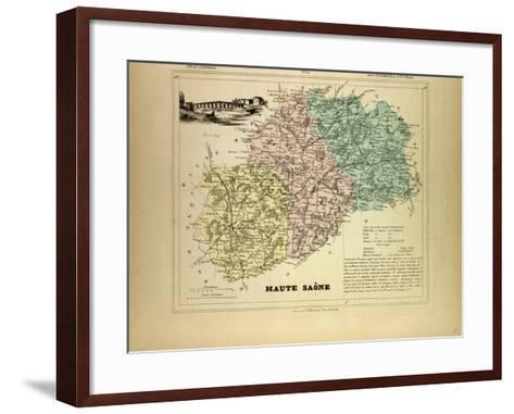Map of Haute Saône, France--Framed Art Print