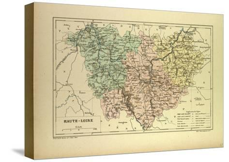 Map of Haute-Loire, France--Stretched Canvas Print