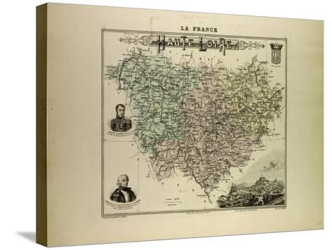 Map of Haute Loire 1896, France--Stretched Canvas Print