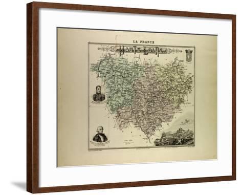 Map of Haute Loire 1896, France--Framed Art Print