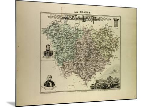 Map of Haute Loire 1896, France--Mounted Giclee Print