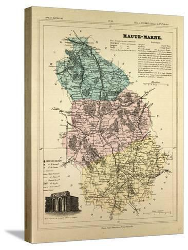 Map of Haute-Marne, France--Stretched Canvas Print