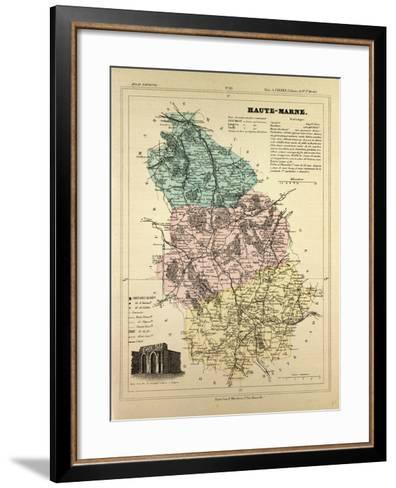 Map of Haute-Marne, France--Framed Art Print