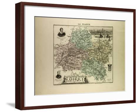 Map of Loiret 1896, France--Framed Art Print