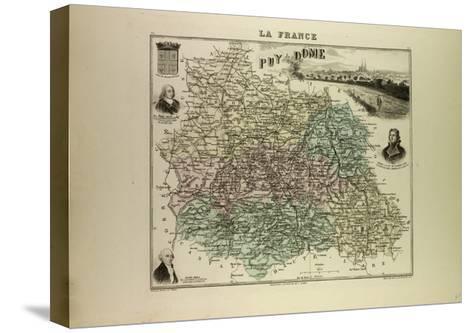 Map of Puy De Dôme 1896, France--Stretched Canvas Print