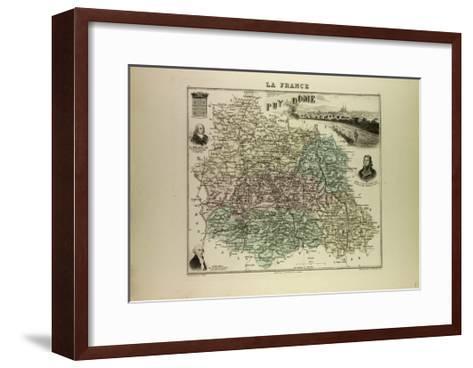 Map of Puy De Dôme 1896, France--Framed Art Print