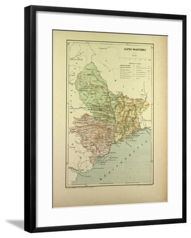 Map of Alpes-Maritimes, France--Framed Art Print