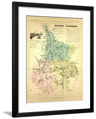 Map of Hautes Pyrénées, France--Framed Art Print