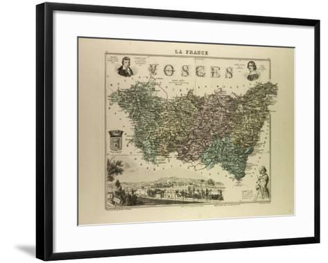 Map of Vosges 1896, France--Framed Art Print