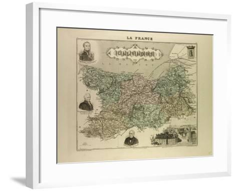 Map of Calvados 1896 France--Framed Art Print