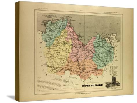 Map of Côtes Du Nord France--Stretched Canvas Print