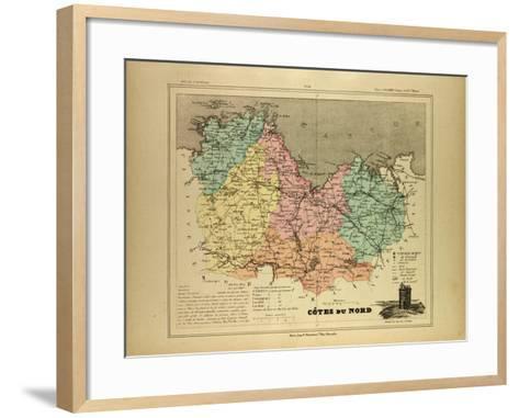 Map of Côtes Du Nord France--Framed Art Print