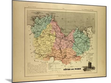 Map of Côtes Du Nord France--Mounted Giclee Print