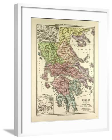 Old Map of Greece--Framed Art Print